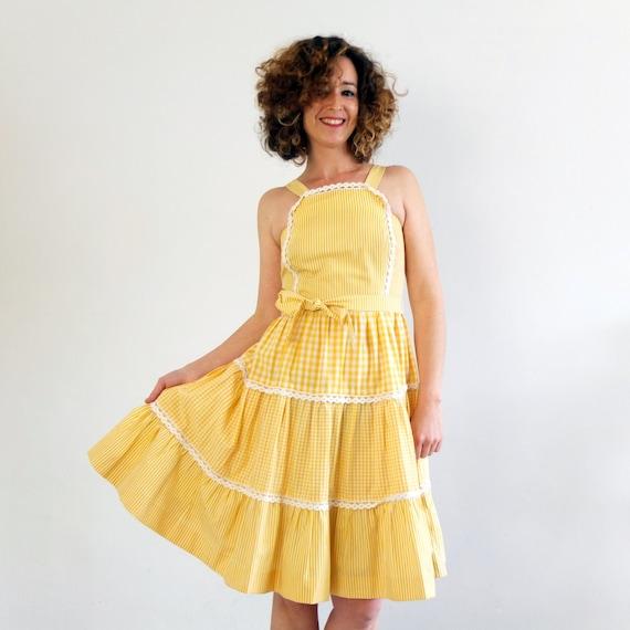 Vintage yellow cotton sundress, Vintage apron dres