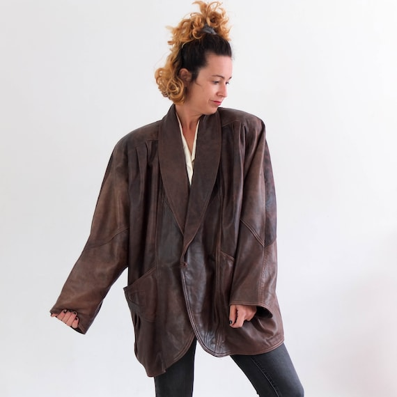 Vintage 80s brown oversized leather jacket coat, V
