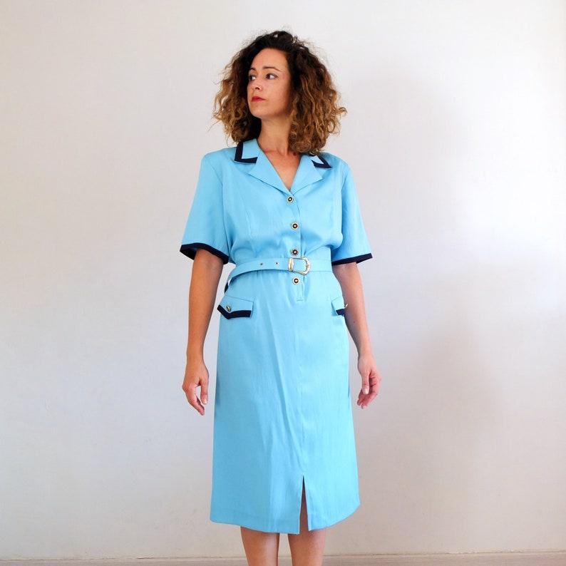Vintage 80s secretary dress plus size, vintage blue dress summer, vintage  80s shirtdress with belt - size XL