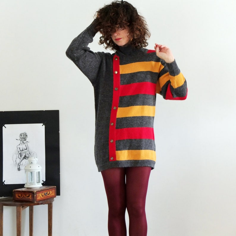 be29986a0 Vintage 90s color block long sweater 90s 80s striped knit