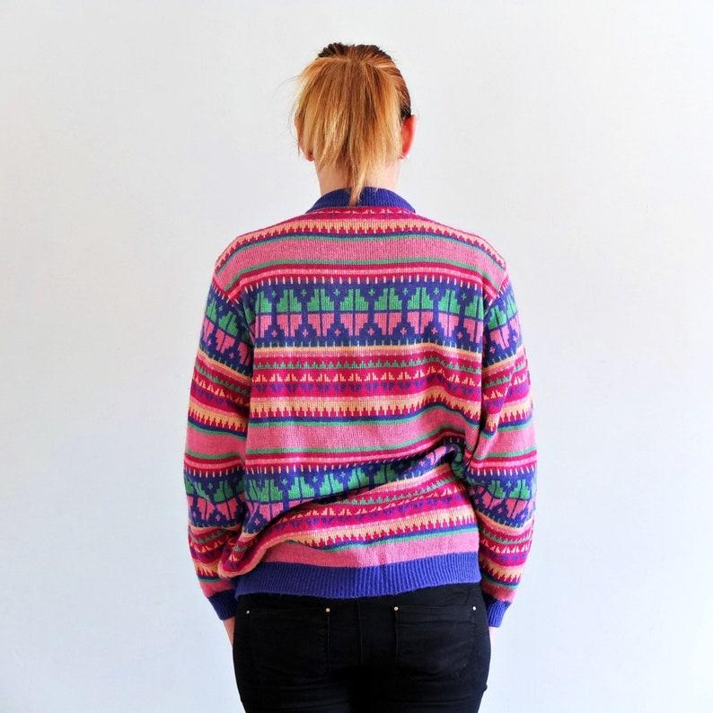 3dd982d9bdca27 Vintage 90s Colorful striped sweater vintage pink knit