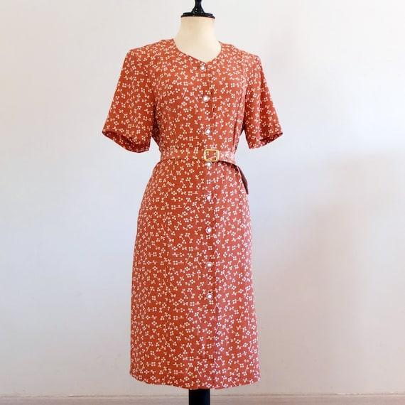 Vintage 80s secretary dress plus size, vintage tan dress summer, vintage  80s shirtdress with belt - size L XL