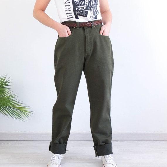 Vintage green boyfriend jeans, Vintage 90s high wa