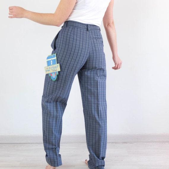 Vintage 80s high waist plaid trousers, Vintage bl… - image 2