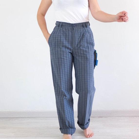Vintage 80s high waist plaid trousers, Vintage bl… - image 3
