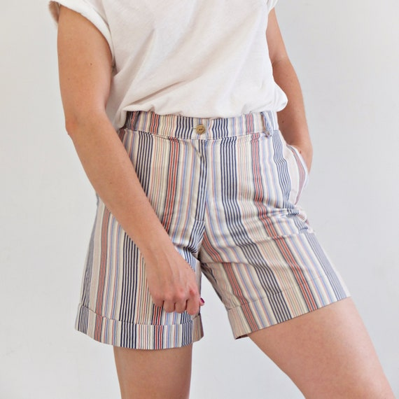 90s Green striped shorts green small cotton shorts S 36 white high waisted women shorts GP62