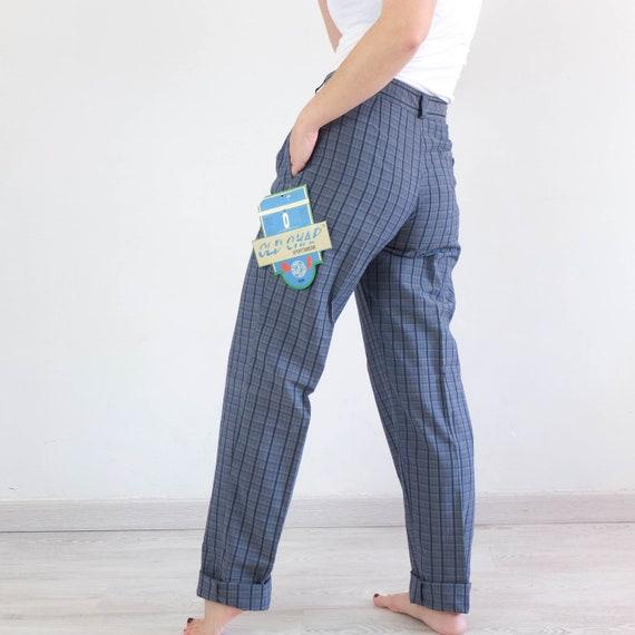 Vintage 80s high waist plaid trousers, Vintage bl… - image 4