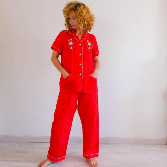 Vintage chinese pajama set, vintage red satin pant