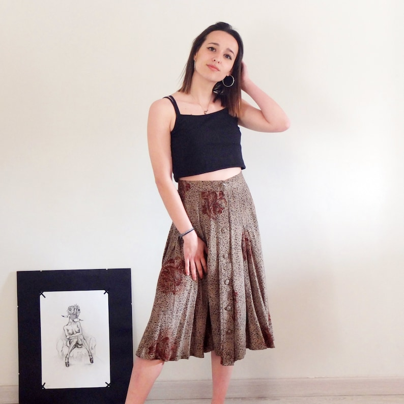d73d6f0394 Vintage 80s tan brown black button down skirt casual rayon   Etsy