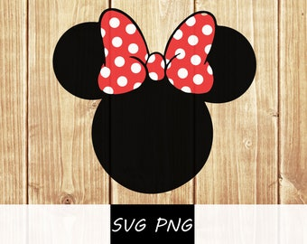 Minnie Mouse Head SVG  PNG Vector Cut File  Silhouette boy girl shirt print  Silhouette Cameo Vinyl Decal Disney Party Stencil Template
