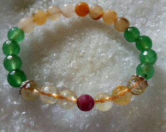 Citrine, Aventurine, and Ruby Natural Stone for Job Interview 8 MM