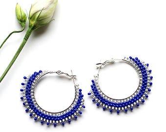 Girlfriend Gift Blue Boho Earrings Gift for Wife Birthday Gift Silver Plated Hoop Earrings Trendy Jewelry Gypsy Jewelry Summer Fashion Gift