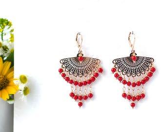 Rose Gold Earrings for Women Coral Earrings Red Earrings with Beads Earring Chandelier Earrings Gold Dangle Earrings for Wife Statement Gift