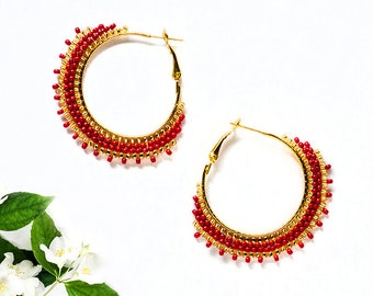 Beauty Gift|for|Girlfriend Red Hoop Earrings Boho Jewelry Bohemian Earrings Delicate Earrings Golden Gypsy Style Red Earrings Trend Jewelry
