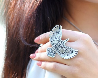 Cocktail ring Bird ring Boho rings Silver ring Eagle ring for Womens ring Totem animal jewelry Totem bird jewelry gift  Large statement ring