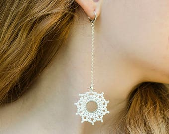 Christmas Jewelry Xmas Gift for Girlfriend Long Earrings Snowflakes Earrings Dainty Earrings Birthday Gift for Daughter Beaded Earrings