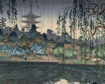 "Japanese Art Print ""Kofukuji Temple in Nara"" by Tsuchiya Koitsu, woodblock print reproduction, asian art, cultural art, rain, pond, rainfall"