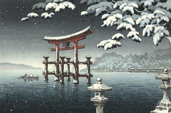 CULTURAL LANDSCAPE JAPAN TEMPLE KAWASE HASUI SNOW WINTER Cultural Canvas art