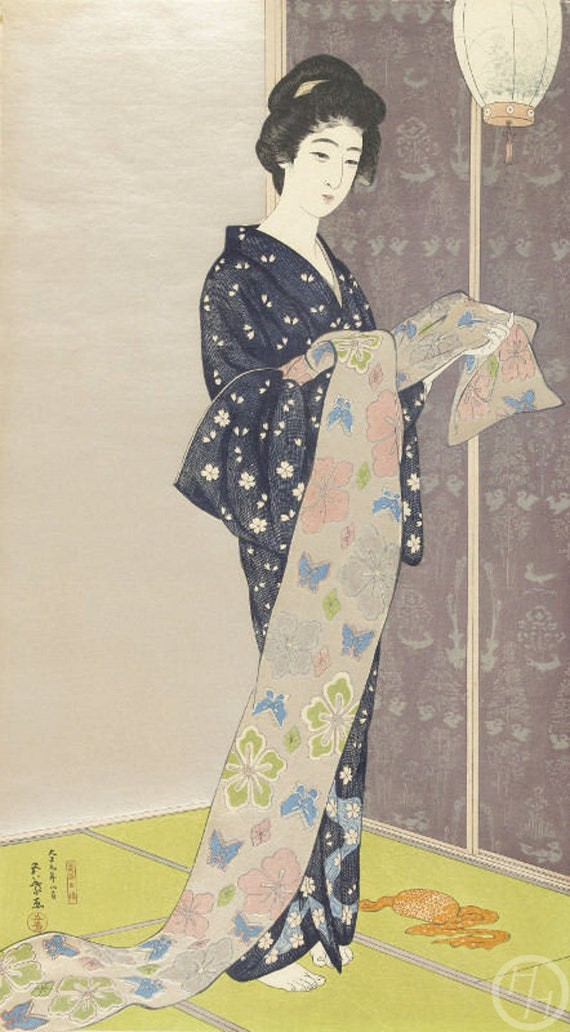 Japanese Art Print H.Goyo Fine Art Reproduction Woman Dressing