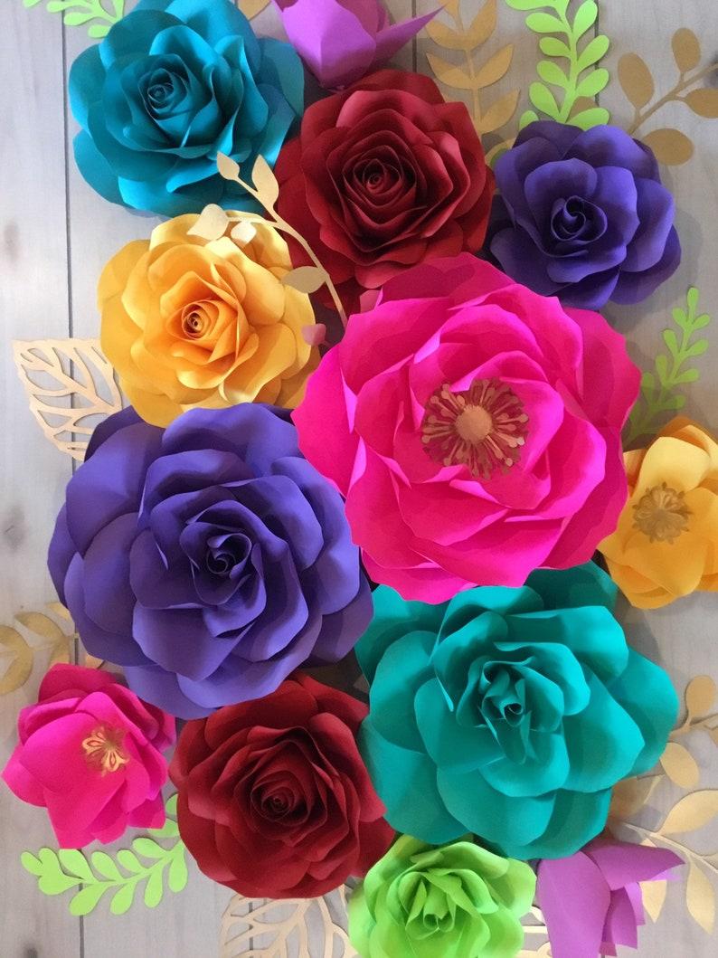 13pc Fiesta Paper Flowers Rose Set birthday\u2022Wedding\u2022Bridal\u2022Celebration
