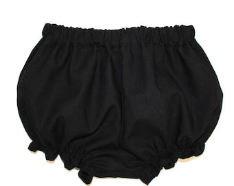 Baby girl, baby bloomers, black, cotton, ruffle leg, baby girl bloomers, diaper cover, bubble shorts, bloomer