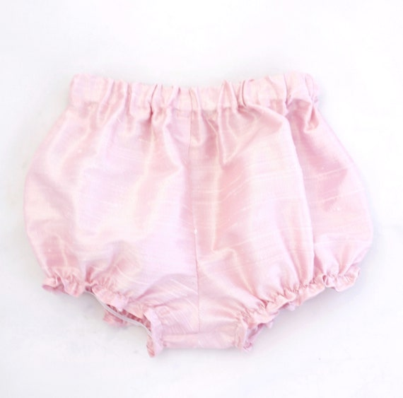 bloomers,baby bloomers ruffle leg baby girl bloomers diaper cover Raw Silk Baby girl newborn bloomers pink bloomers