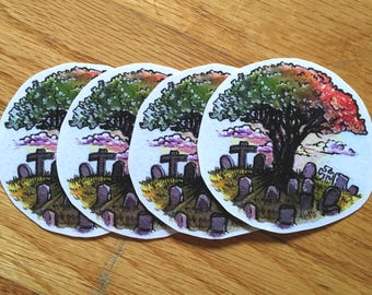 Cemetery & Oak Sticker