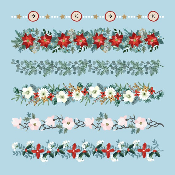Christmas Borders Clipart.Christmas Border Clipart Border Clip Art Christmas Banner Clip Art Border Clip Art Line Digital Clipart Instant Download Floral Garland