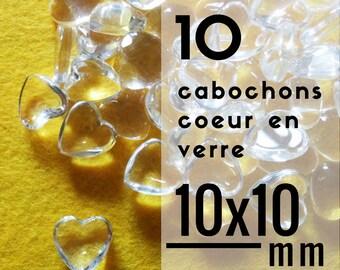 10 cabochons coeur en verre - 10 mm - Lot de 10 cabochons en forme de coeur de 1 cm