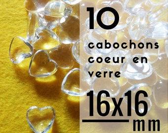 10 cabochons coeur en verre - 16 mm - Lot de 10 cabochons en forme de coeur de 1,6 cm