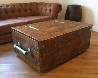 Gentil Extra Large Reclaimed Wooden Storage Chest Ottoman Blanket Box Trunk Coffee  Table