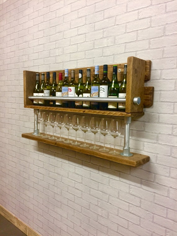 Wine Rack Home Bar Wine Glass Holder Display Shelves Industrial Style Wine Holder Man Cave Drinks Bar Reclaimed Wood