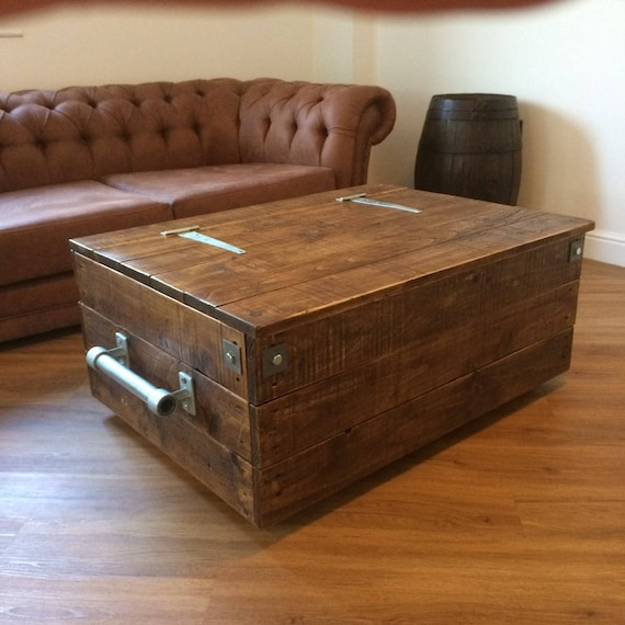 Chest Trunk Coffee Table Storage Box Part Reclaimed Wood Ottoman Blanket Box