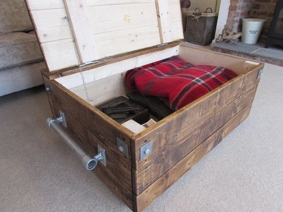 Decocraft Wooden Blanket Box Coffee Table Trunk Vintage Chest Wooden Ottoman Toy Box BT2