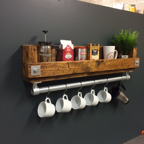 Details about Coffee Mug Cup Holder Rack Kitchen Organizer Rustic Country Wood Sign Cafe Hooks