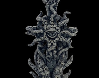 Cthulhu Eldritch Cross / 16'' tall Sculpture Dark Art / Lovecraft Cosmic Horror / Goth / Witchy / Weird / Pagan / Occult / Oddity Curiosity