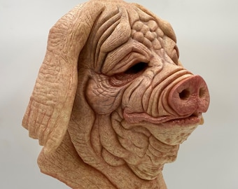 Porkchop Pig  Latex Mask Full Head Pullover / Halloween / Cosplay / Costume / Party / Mascot / Collector / Animal / Scary / Horror / Butcher