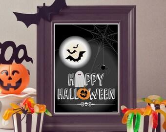 Happy halloween decoration, Halloween wall art, happy halloween poster - halloween digital print - halloween illustration - halloween