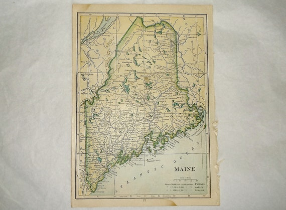 Antique 1912 MAINE and ALASKA State Map Plates • small 5 X 7 inches • free  shipping