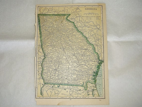 Free Map Of Georgia.Antique 1912 Florida Or Georgia Map Plate Small 5 X 7 Inches United States Of America Free Shipping
