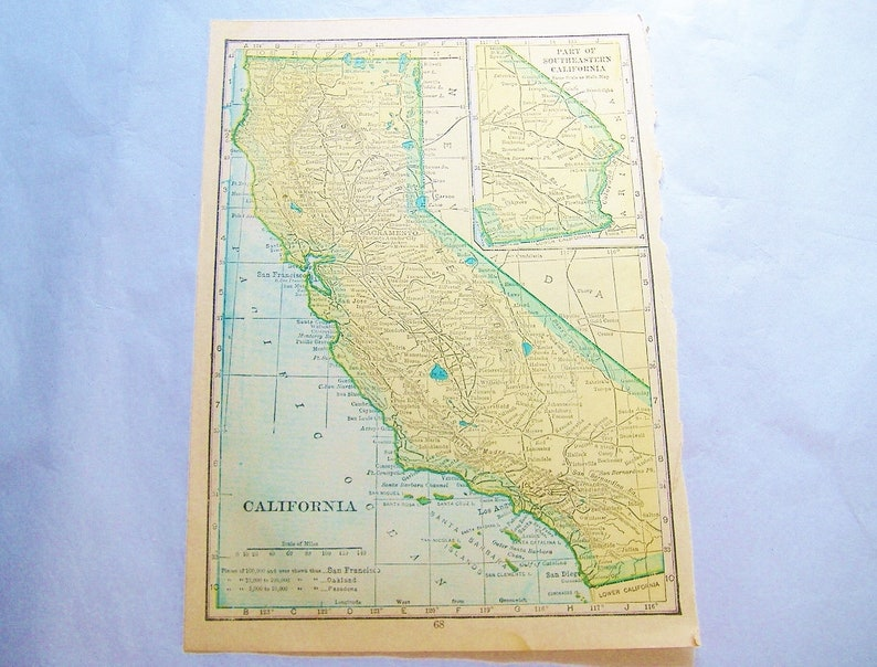 Antique 1912 book CALIFORNIA or NEVADA Map Plate • small 5 X 7 inches •  United States of America • free shipping