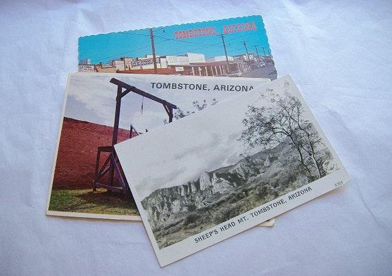 3 Vintage Tombstone Arizona Postcards Mixed Lot Sheep S Head Allen Street Gallowsfree Shipping