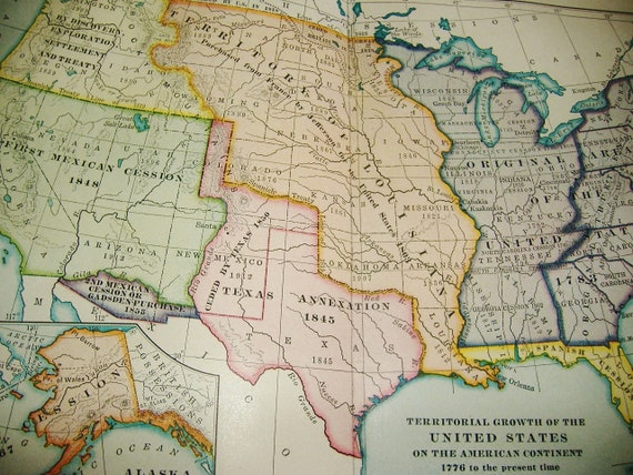 Antique 1929 Map Plate • Territorial Growth of The United States • 1776  thru 1929 • free shipping