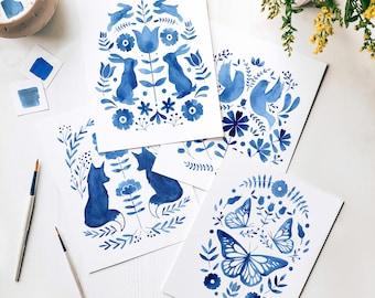 Folk Art Watercolor Coloring Kit