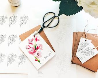 DIY Pollinator Watercolor Greeting Card Kit