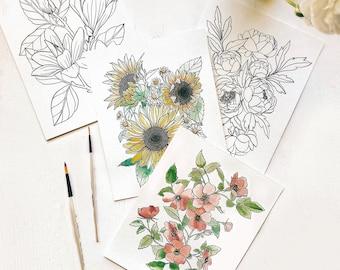 Garden Watercolor Coloring Kit