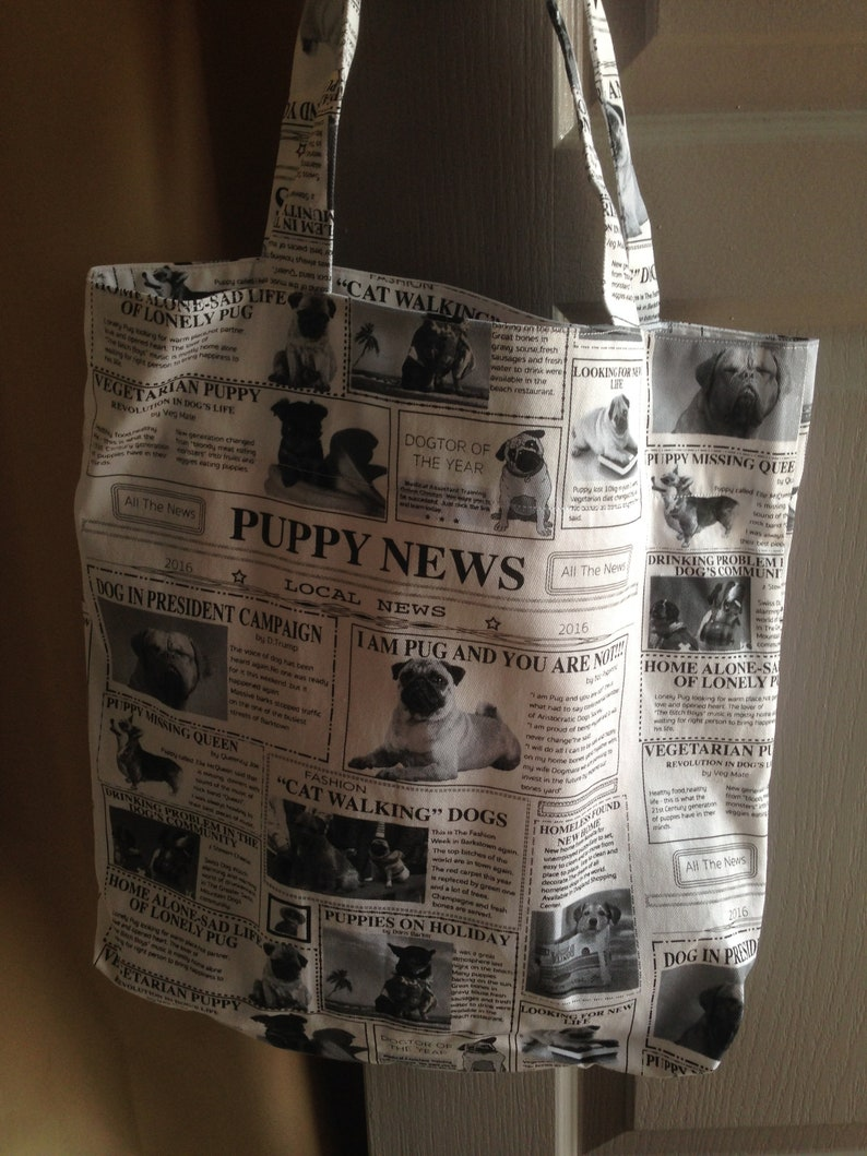 Gift for her. 38 cm x 38 cm inside pocket Weekend Bag Tote Bag beach bag Yoga Bag Reusable shopping bag Puppy Newspaper Print Tote