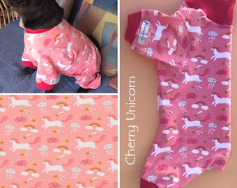 Dog Onesie, Dog Pajamas, Dog Pjs with Ribbed Pink Leg Cuffs and Collar, available in a number of fabrics and sizes. Dog pyjamas, Dog Onesie.