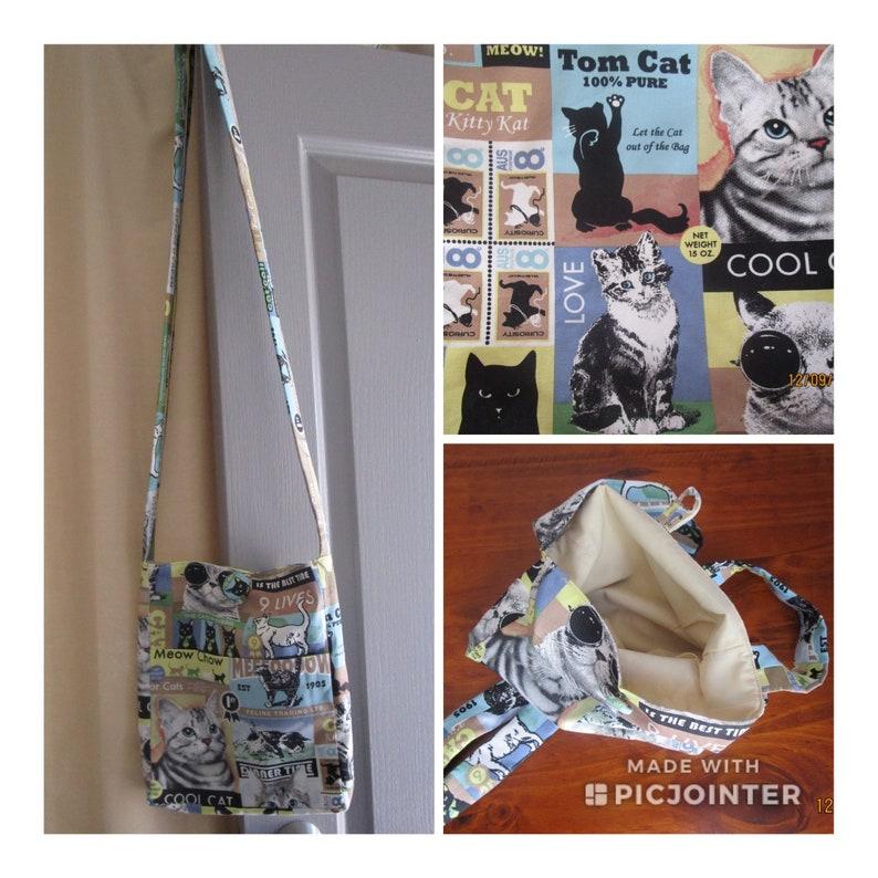 Cat Print Tote//Messenger Cross Body Bag-Cat Gift Idea