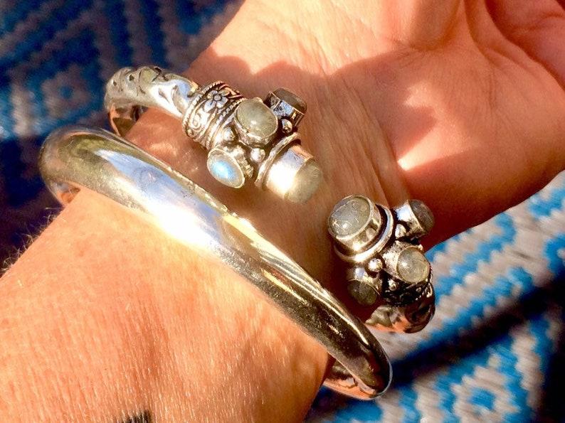 set 2 big indian brass silver plated and choice of gemstone  bangles; ethnic; boho ; tribal gypsy jewels bracelet; cuff